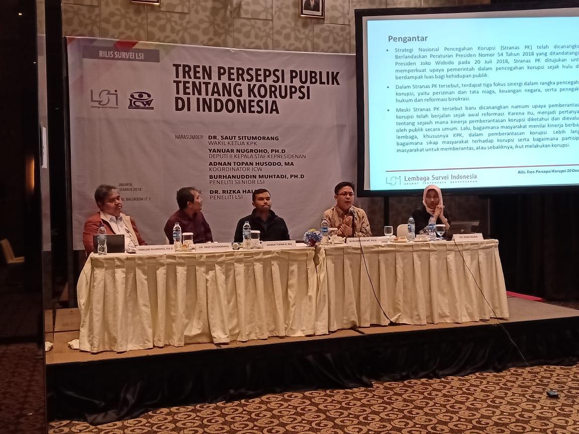 Peneliti 52 Persen Responden Menilai Tingkat Korupsi Meningkat