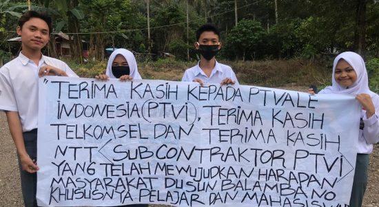 Harapannya Dikabulkan, Pelajar Dusun Balambano Termakasih PT Vale Indonesia Adakan Jaringan Internet