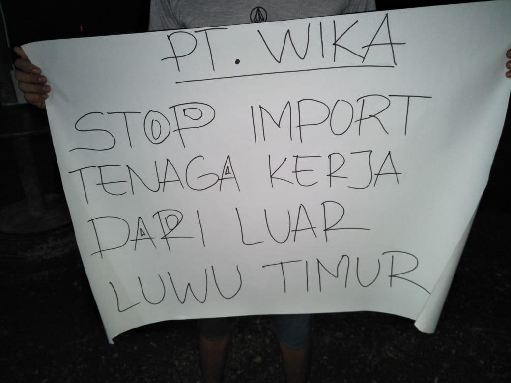 PT WIKA, Stop Impor Tenaga Kerja dari Luar Luwu Timur