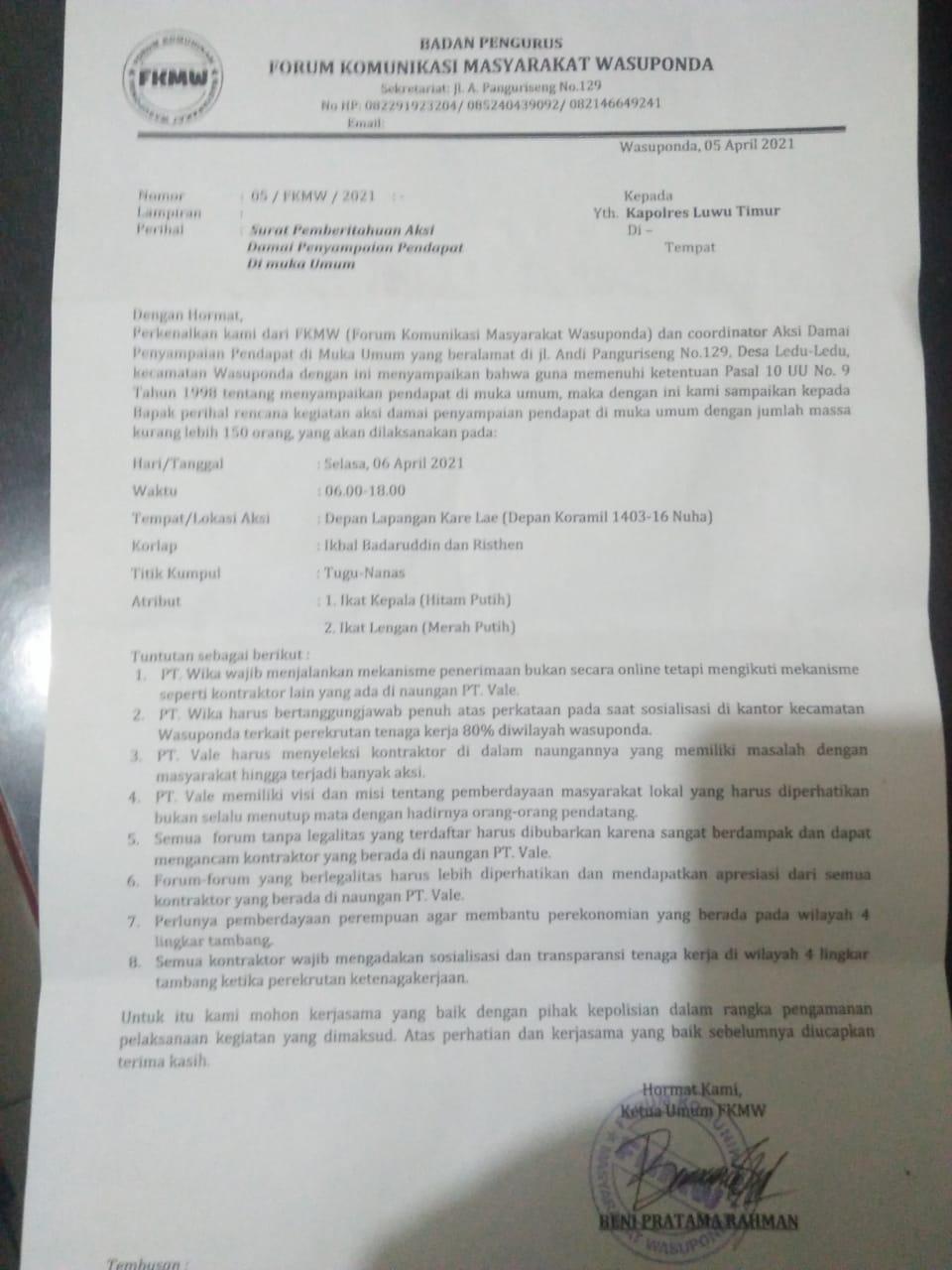 Setelah KPM-LT, Giliran FKMW Demo PT Wika dan PT Vale ini Poin Tuntutannya