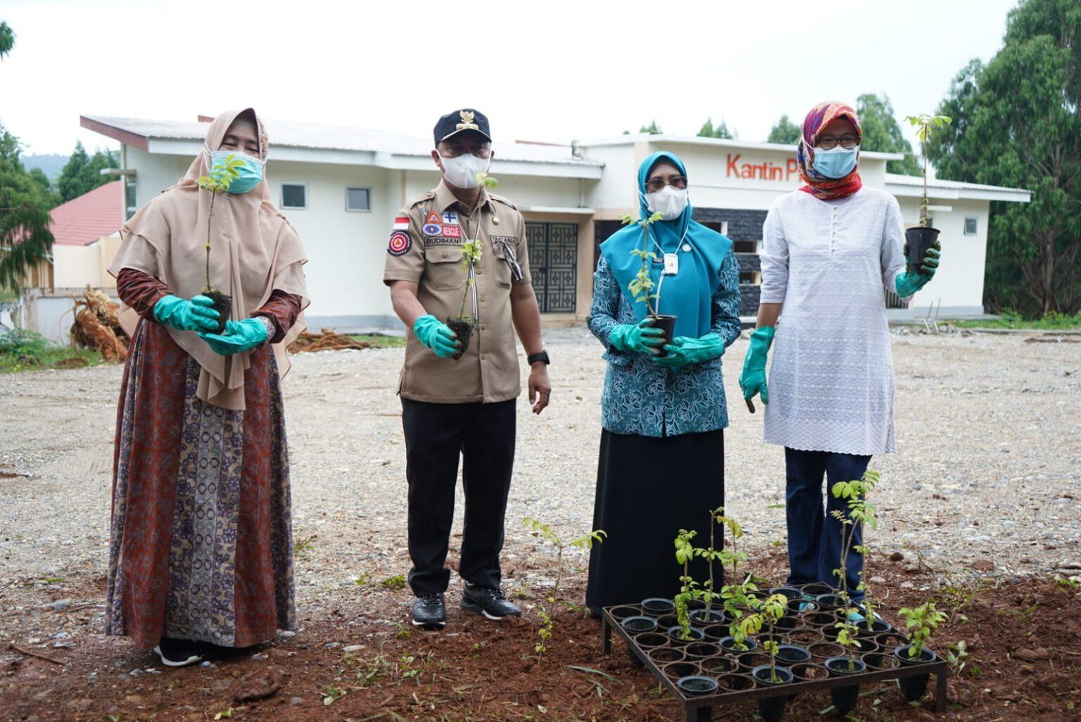 Pantau Progress RTH, Bupati Budiman Tanam Pohon di Halaman Kantin PKK
